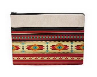 """Southwestern Laptop Sleeves, Fabric Macbook Case, Padded iPad Pro 10.5"""" Cover, Dell Laptop Bag, Asus Zipper Sleeve - red tribal Aztec Navajo"""