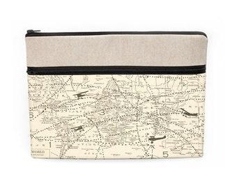 "Lenovo Laptop Sleeve, Laptop Travel Case, Macbook Pro 13"" sleeve, HP Padded Case, iPad Pro 12.9 Padded Cover - vintage world map"