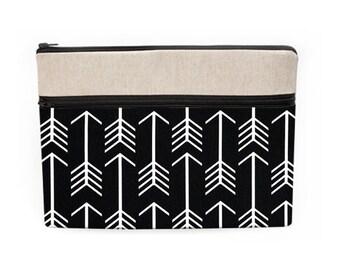 iPad Pro 12 Padded Sleeve, Southwestern MacBook Pro Case, Custom Handmade MacBook Bag, Asus Laptop Case - black and white arrows