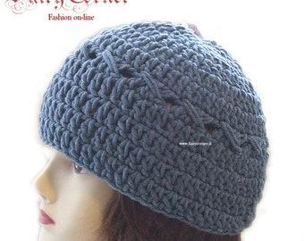 berretto cappello in lana uncinetto blu jeans 712065338581
