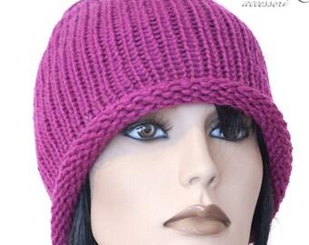 berretto cappello in lana a maglia Fuxia d0836d88e8ce