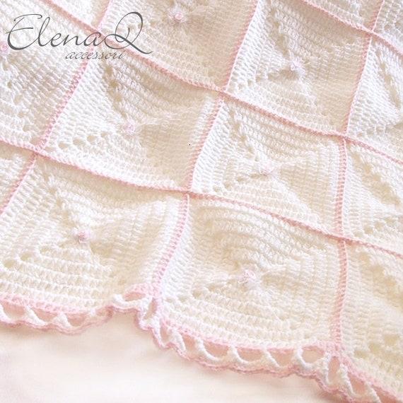 scarpe da ginnastica raccolto 100% di alta qualità Copertina neonato rosa e bianca con rose di raso e pizzo | Etsy