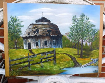 Vintage Barn Oil Painting on a Hoosier Cabinet Dough Board - circa 1900 - from DustyMillerAntiques