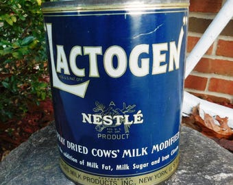 Vintage Nestle' Product Lactogen Spray Dried Cows' Milk Tin - 1942 - from DustyMillerAntiques