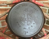Vintage Griswold Large Slant Logo EPU Skillet with Heat Ring 8 704G - 1909 - 1929 - from DustyMillerAntiques