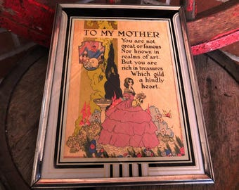 Vintage Art Deco Framed To My Mother Poem Picture - circa 1930 - from DustyMillerAntiques