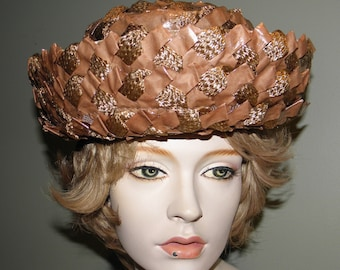 1960s Vintage Lady/'s Royal Blue /& Gold Lame/' Deep Pillbox Hat from DustyMillerAntiques