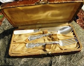 Vintage Whiting Davis Sheffield Sterling Silver and MOP Louis XV Youth 3-Pc Flatware Set in Leather Box - 1891 - from DustyMillerAntiques