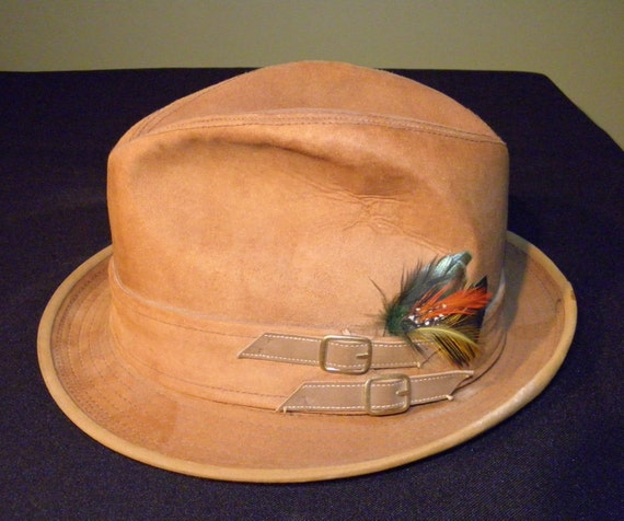 Vintage Dobbs Camel Tan Suede Fedora Hat 1960 s from  1fdcfb579693