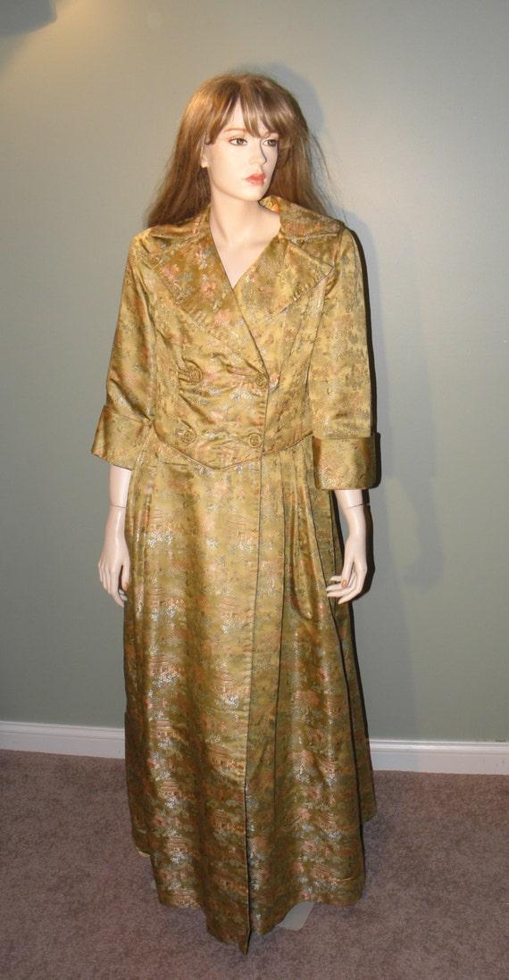 Vintage Oriental Brocade Coat Dress - 1950's - fro