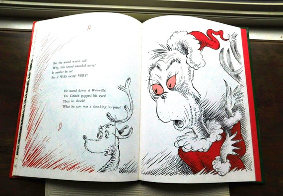 How The Grinch Stole Christmas Book Illustrations.Vintage How The Grinch Stole Christmas Book By Dr Seuss 1980 S From Dustymillerantiques