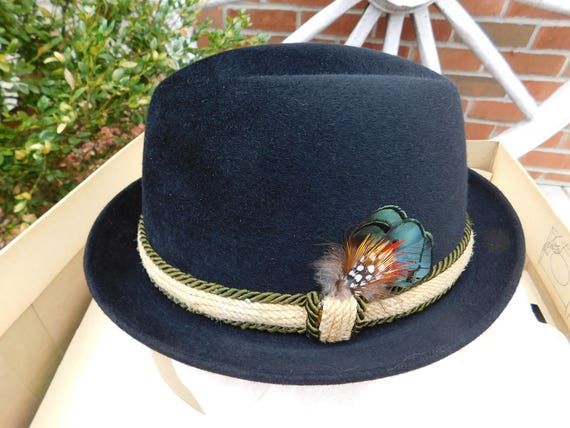 Vintage Champ Black Silk Finish Fedora Hat with Feather   Original ... 02837ffba93c
