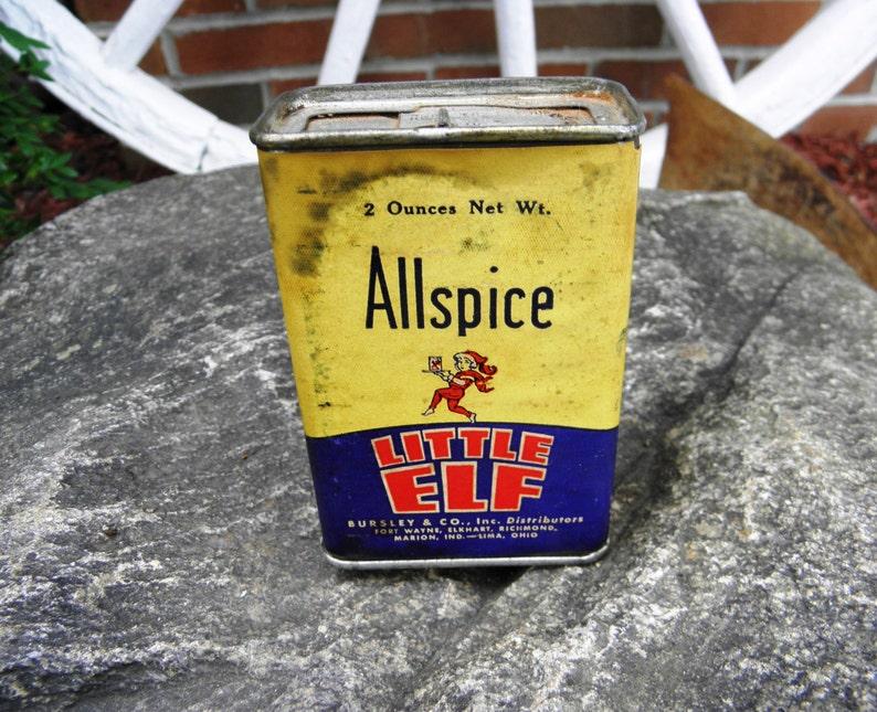 Vintage Bursley's Little Elf Allspice Tin Can - circa 1930 - from  DustyMillerAntiques