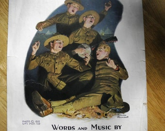 Vintage Over There by George M. Cohan WWI Sheet Music - Art by Norman Rockwell - 1917 - from DustyMillerAntiques