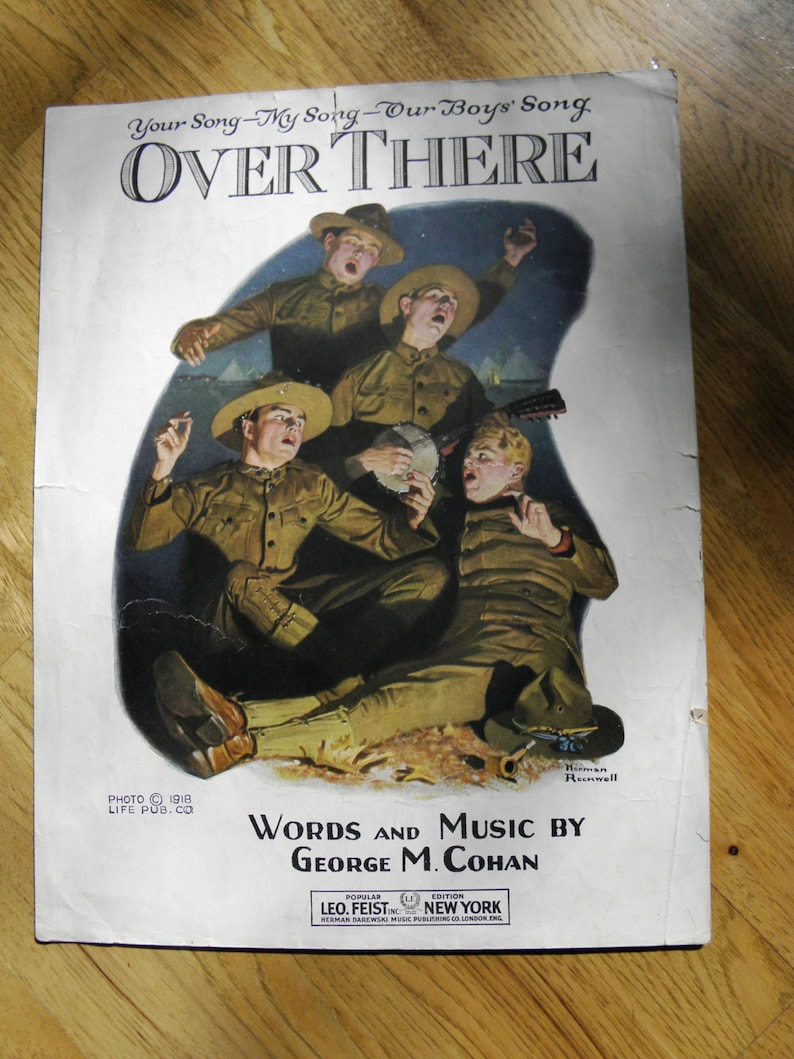 Vintage Over There by George M. Cohan WWI Sheet Music  Art by image 0