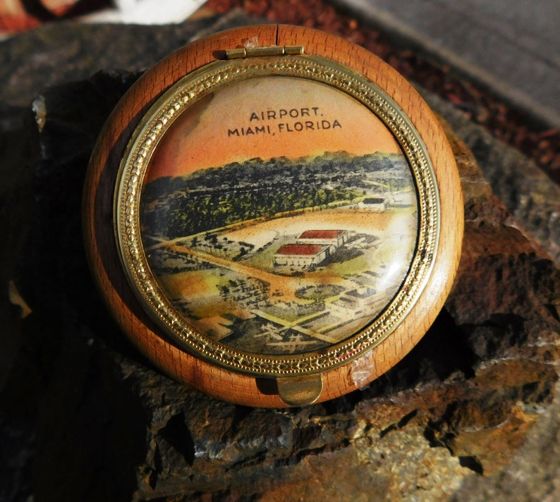 1930/'s from DustyMillerAntiques Vintage Miami Florida Airport Photo Wood /& Brass Powder Compact