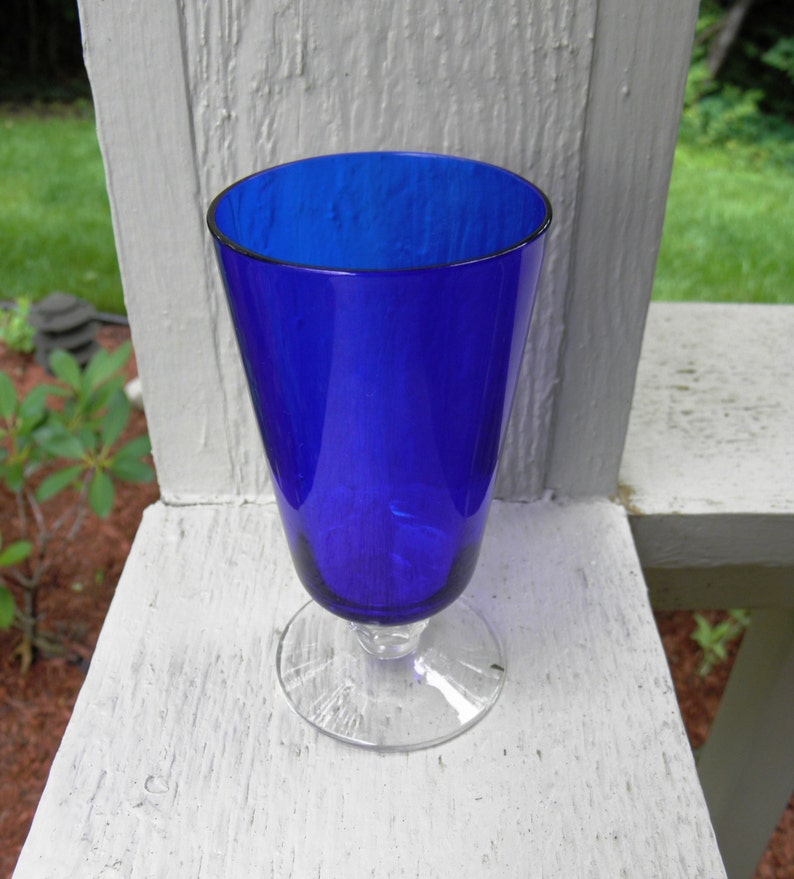 from DustyMillerAntiques Vintage Rare Heisey Glass Stiegel Blue Spanish Footed Juice Stem 1933-6 Available