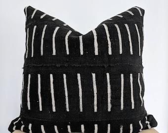 Black authentic mudcloth pillow cover