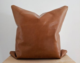 Leather front pillow cover