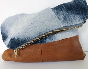 Indigo african mudcloth and leather fold over clutch