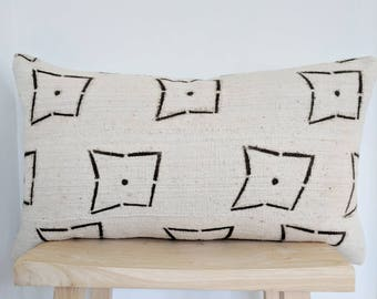 cream and brown mudcloth pillow cover
