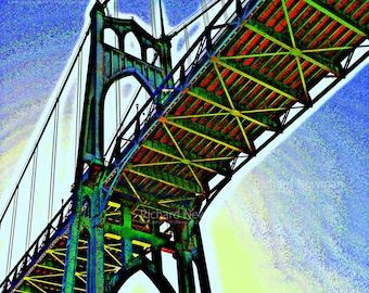 Pop Art of St Johns Bridge, Portland Oregon,  Photograph