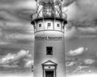 Lighthouse in Kauai, Hawaii, Nautical Art, Beach art, Black&White Photograph