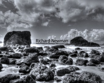 Oregon coast,  Ecola State Park, Beach art, black and white photograph