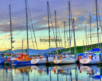 Dingle Harbor Ireland, colorful sunrise on boats, nautical  photograph