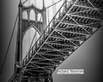 Black and White St Johns Bridge, Portland Oregon, photograph
