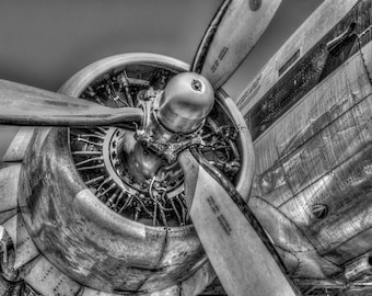 DC3 Airplane, Historical airplane, black and white photograph