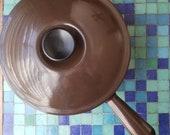 LE CREUSET Brown Enameled Cast Iron Saucepan, 20, 2.75 Quart, France, 1970s, Very Good Vintage