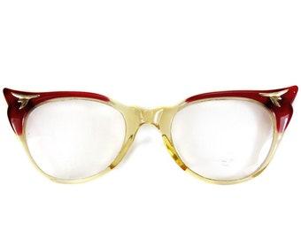 Retro Cat Eye Eyeglasses Glasses Vintage Rockabilly Style 50s Red Wing Tips