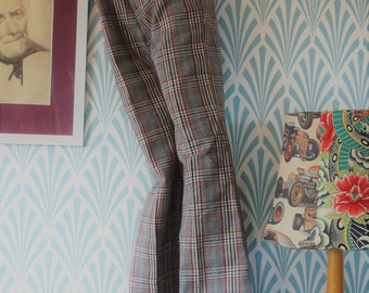 11. 70s Siclat flared pants grey-blue-orange-red plaid - Teenager size EU146 / Women EU34 3Jd4w
