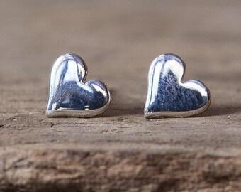 Silver Heart Earrings, Heart Earrings, Heart Stud Earrings, Tiny Heart Earrings, Silver Stud Earrings, Simple Earrings, Valentine Jewelry