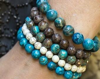 Beaded Bracelets, Stretchy Bracelets, Agate Bracelets, Mala Bracelets, Boho Bracelets, Beach Jewelry, Stack Bracelets, Set Of Five Bracelets