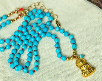 Buddha Necklace, Turquoise Necklace, Knotted Necklace, Yoga Necklace, Charm Necklace,