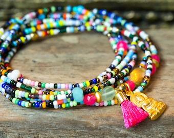 Beaded Bracelet, Wrap Bracelet, Stretch Bracelet, Buddha Bracelet, Gemstone Bracelet, Boho Bracelet, Beaded Necklace, Seed Bead Bracelet