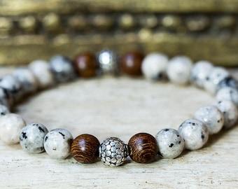 Silver Bracelet, Bracelets for Men, Wood Bead Bracelet, Beaded Bracelet, Stretch Bracelet, Bali Bead, Jewelry for Men, Stack Bracelet, Boho