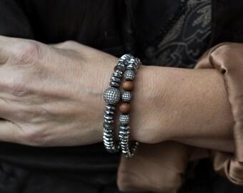 Boho Bracelets, Stack Bracelets, Stretch Bracelets, Set of Two, Diamond Bracelets, Hematite Bracelets, Stretchy Bracelets, Stackable, Boho