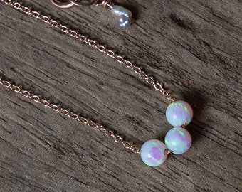 Opal Necklace, Rose Gold Necklace, White Opal Necklace, Bridesmaid Necklaces, October Birthstone Necklace, Tiny Opal Necklace, Simple Opal,
