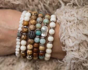 Bracelet Stack, Stretch Bracelets, Beaded Bracelets, Boho Bracelets, Pearl Bracelets, Stretchy Bracelets, Set of Five, Jasper Bracelets,