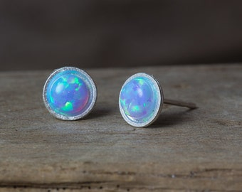 Opal Earrings, Silver Opal Earrings, White Opal Earrings, Blue Opal Studs, Opal Stud Earrings, October Birthstone, Small Stud Earrings