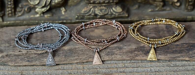 Yoga Je Buddha Bracelet Hematite Bracelet Boho Jewelry SPRING SALE Silver wrap Bracelet Silver Hematite Bracelet Silver Charm Bracelet