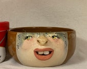 CERAMIC BOWL -medium-Wheel thrown, hand altered & sculpted. Just a friendly face to hold soup, ice cream, cereal, favorite candy.