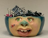 Extra small ceramic bowl - wheel thrown, hand altered & sculpted. Just a friendly face to enjoy your favorite soup, ice cream or salad.