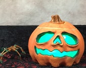 HAUNTED JACK O'LANTERN- Wheel thrown, hand altered and sculpted. Just a friendly fella to help you light up your life.  HJ3