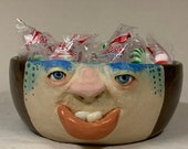 Small bowl ceramic bowl - Wheel thrown, hand altered & sculpted. Just a friendly face to hold soup, ice cream, cereal, favorite candy.