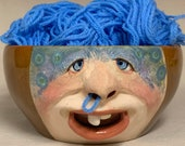 LARGE YARN BOWL - Ready to ship -Wheel thrown, hand altered and sculpted. This listing is for the actual bowl pictured.