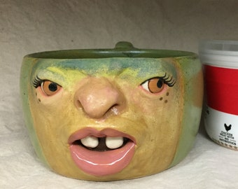 Soup mug with handle - Wheel thrown, hand altered & sculpted. Just a friendly face to enjoy your favorite soup, salad or cereal.